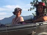 Keeley Hawes grins as she's greeted by excited fans while filming new series of The Durrells