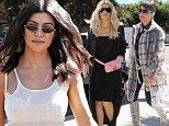 Kourtney Kardashian wears sheer tank top for lunch with Khloe and Kris